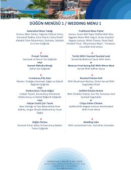 düğün menüsü 1 / weddıng menu 1