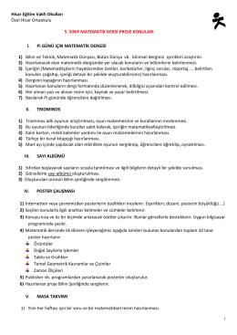 5. Sınıflar Proje Konuları (1. Dönem)