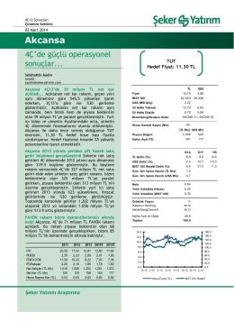 Akcansa - Şeker Yatırım