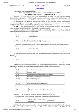 Türk Gıda Kodeksi Gıda Katkı Maddeleri Yönetmeliğinde Değişiklik