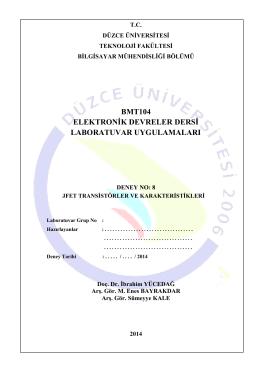 BMT104_08_Deney_8 - Düzce Üniversitesi Bilgisayar Mühendisliği