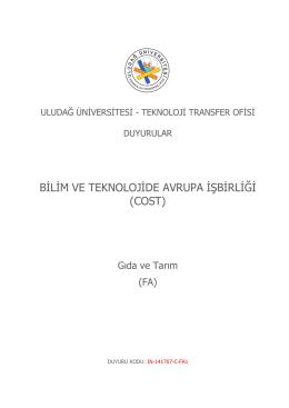 Gıda ve Tarım (FA) - Uludağ Üniversitesi Teknoloji Transfer Ofisi