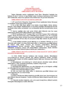 T.C İÇİŞLERİ BAKANLIĞI AB UZMAN YARDIMCILIĞI GİRİŞ (SÖZLÜ