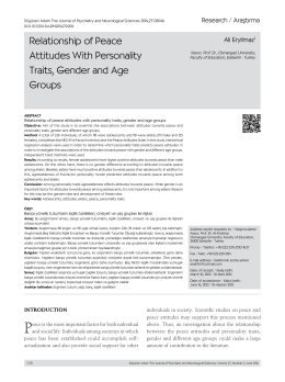 Relationship of Peace Attitudes With Personality