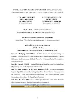 Ticaret Hukuku Uluslararası Sempozyumu / Internationales