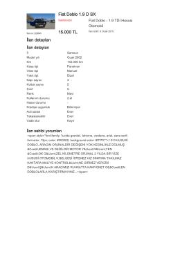 Fiat Doblo 1.9 D SX 15.000 TL İlan detayları