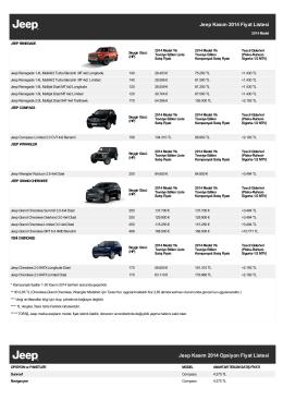 Jeep Kasım 2014 Fiyat Listesi Jeep Kasım 2014 Opsiyon