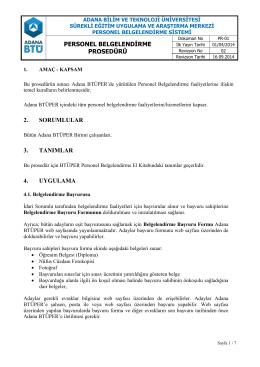 personel belgelendirme prosedürü 2. sorumlular 3. tanımlar 4