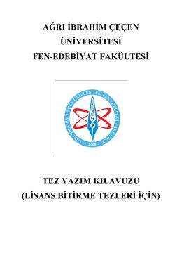 Tez Yazım Klavuzu - Ağrı İbrahim Çeçen Üniversitesi