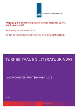 Vakinformatie Turkse taal en literatuur vwo 2015