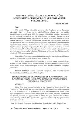 6102 Sayılı Türk Tı̇caret Kanununa Göre