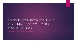 Biyolojik Örneklerde İlaç Analizi ECZ 344 Prof.Dr. Dilek AK