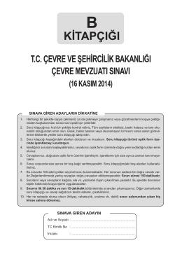 B Kitapçığı sınav soruları - Çevre ve Şehircilik Bakanlığı