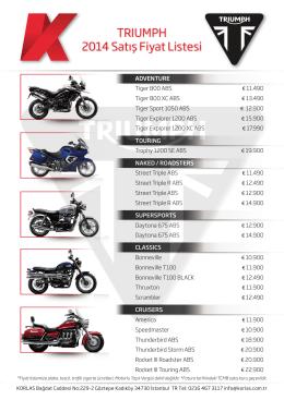 Triumph 2014 yılı motosiklet fiyatları
