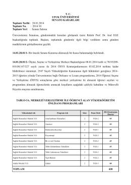 T. C. UFUK ÜNİVERSİTESİ SENATO KARARLARI Toplantı Tarihi