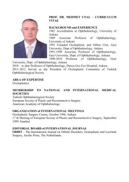 PROF. DR. MEHMET UNAL – CURRICULUM VITAE