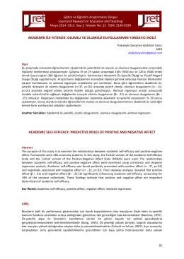 akademik öz-yeterlik - Eğitim ve Öğretim Araştırmaları Dergisi