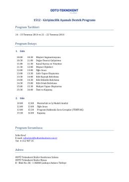 1512 - Girişimcilik Aşamalı Destek Programı Program