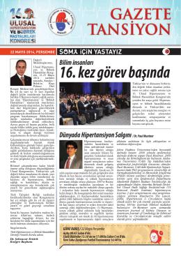 22 Mayıs 2014 - Türk Hipertansiyon ve Böbrek Hastalıkları Derneği