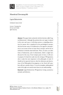 Mantıksal Davranışçılık - Beytulhikme Felsefe Dergisi