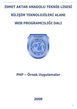 php_ornekler - İsmet Aktar Teknik ve Endüstri Meslek Lisesi