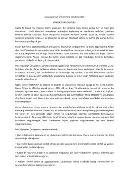 Muş Alparslan Üniversitesi Senatosundan KAMUOYUNA DUYURU
