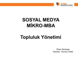 SOSYAL MEDYA MİKRO-MBA Topluluk Yönetimi