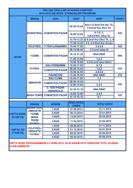 BRANŞ GÜN SAAT SINIF ÜCRET 09.30-10.45 Ana-1