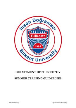 Summer Training Guidelines - Bilkent Üniversitesi, Bilgisayar