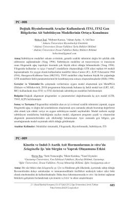 PC–008 Değişik Biyoinformatik Araçlar Kullanılarak ITS1, ITS2 Gen