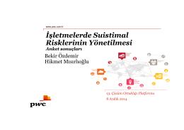 İşletmelerde Suistimal Risklerinin Yönetilmesi Anket
