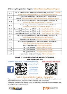 19 Ekim 2014 Geyik Koşuları Programı