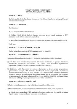 Futbol Müsabaka Talimatı - Türkiye Futbol Federasyonu