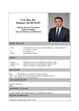 Yrd. Doç. Dr. Mehmet Ali ZENGİN