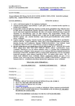 Alınan Kararlar(PDF) - Billur Yuva Konut Yapı Kooperatifi