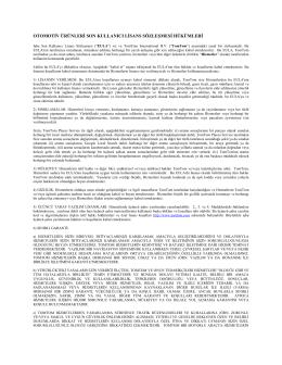 otomotiv ürünleri son kullanıcı lisans sözleşmesi hükümleri