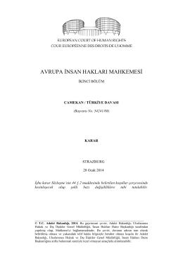 28 Ocak 2014 tarihli Şamil Camekan v. Türkiye Başvurusu