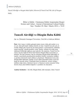 04 - KARAKAŞ, Meltem, Tunceli Aleviliği ve Düzgün Baba Kültü, S