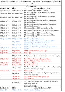2014-2015 Akademik Takvim - Osmaniye Korkut Ata Üniversitesi