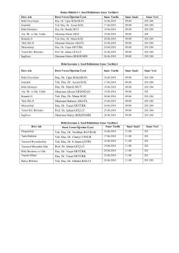 2013-2014 Bahar Dönemi Bütünleme Sınav Takvimi