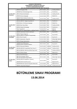 bütünleme sınav programı - CU Department of Automotive