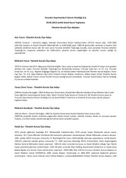 Yönetim Kurulu Üye Adayları