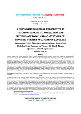 Yabancılara Türkçe Öğretimine Yöntembilimsel Açıdan Yeni Bir