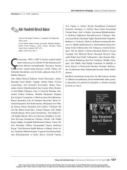.Aile Yönelimli Birincil Bak›m - Türkiye Aile Hekimliği Dergisi