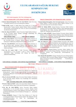 uluslararası sağlık hukuku sempozyumu 18 ekim 2014