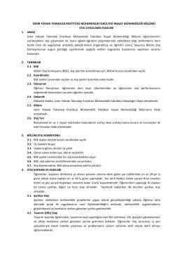 2. İnşaat Mühendisliği Bölümü Staj Uygulama Esasları