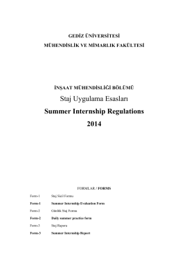 Staj Uygulama Esasları Summer Internship Regulations 2014
