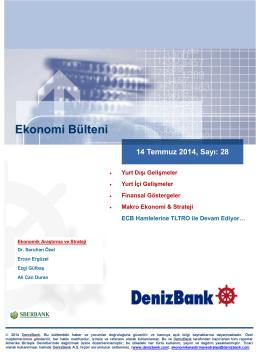Yurt Dışı Gelişmeler DenizBank Ekonomi Bülteni 14