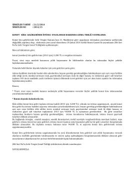 Sirküler 2014-015 - KONUT KİRA GELİRLERİNDE İSTİSNA