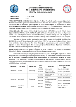 karar 2014/011 - Afyon Kocatepe Üniversitesi